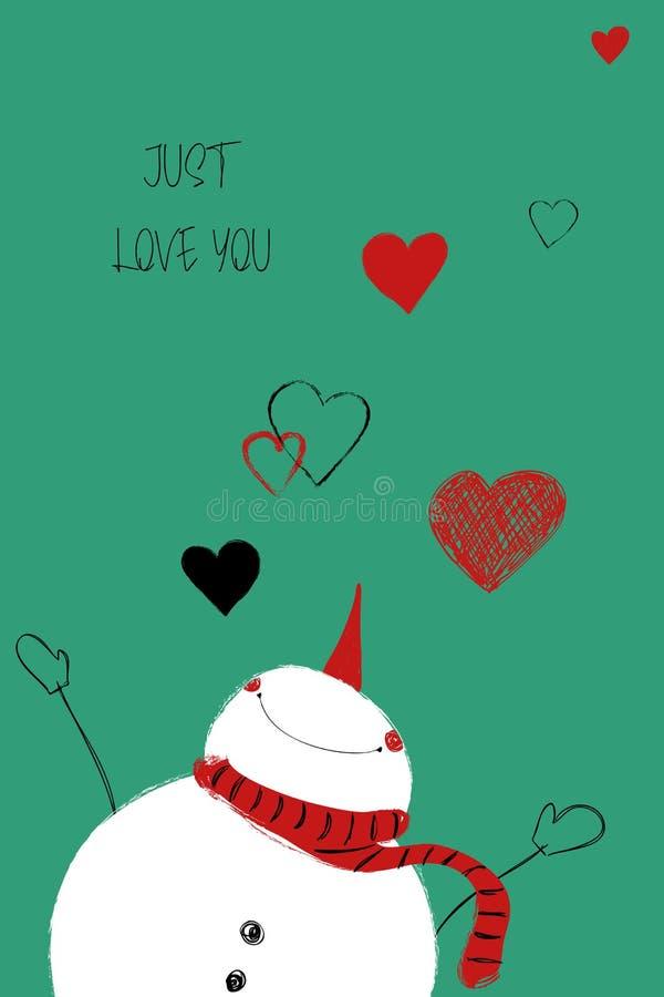 Tarjeta del amor con el muñeco de nieve lindo ilustración del vector