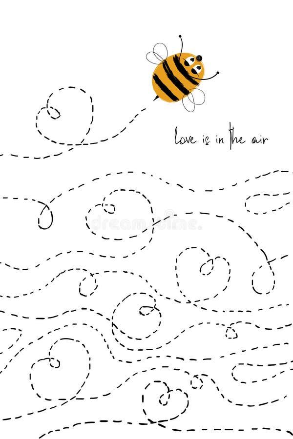 Tarjeta del amor con la abeja linda libre illustration
