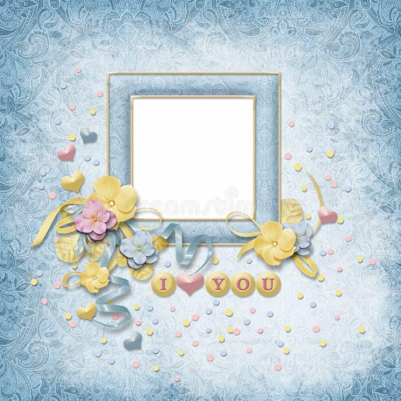 Tarjeta del amor con las flores libre illustration