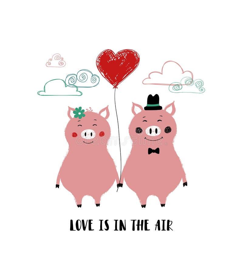 Tarjeta del amor con los pares de cerdos ilustración del vector
