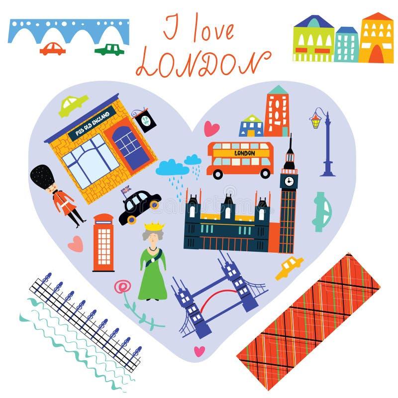 Tarjeta del amor de Londres con las señales divertidas libre illustration