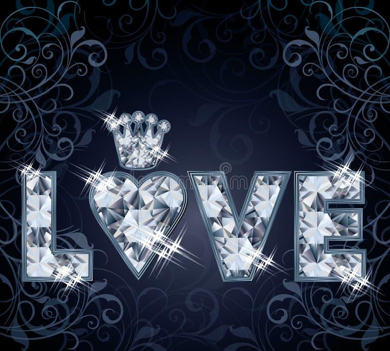 Tarjeta del amor del diamante stock de ilustración