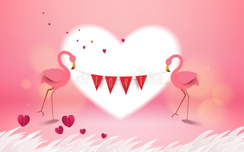 Tarjeta del amor y de Valentine Day Holdin rosado romántico de los pájaros del flamenco libre illustration