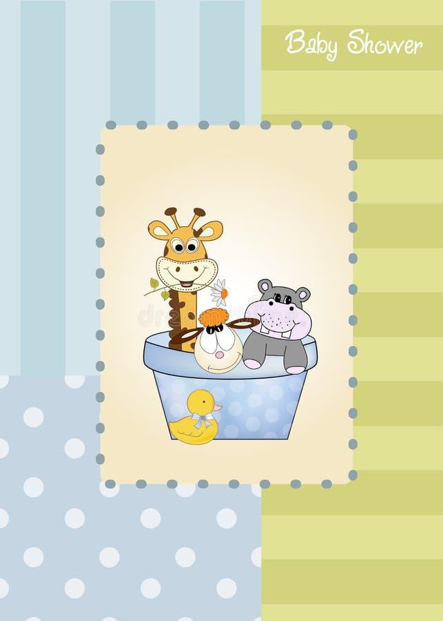 Tarjeta del aviso de la ducha de bebé ilustración del vector