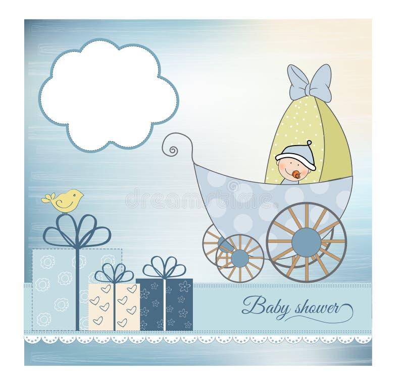 Tarjeta del aviso de la ducha de bebé con el cochecito de niño ilustración del vector