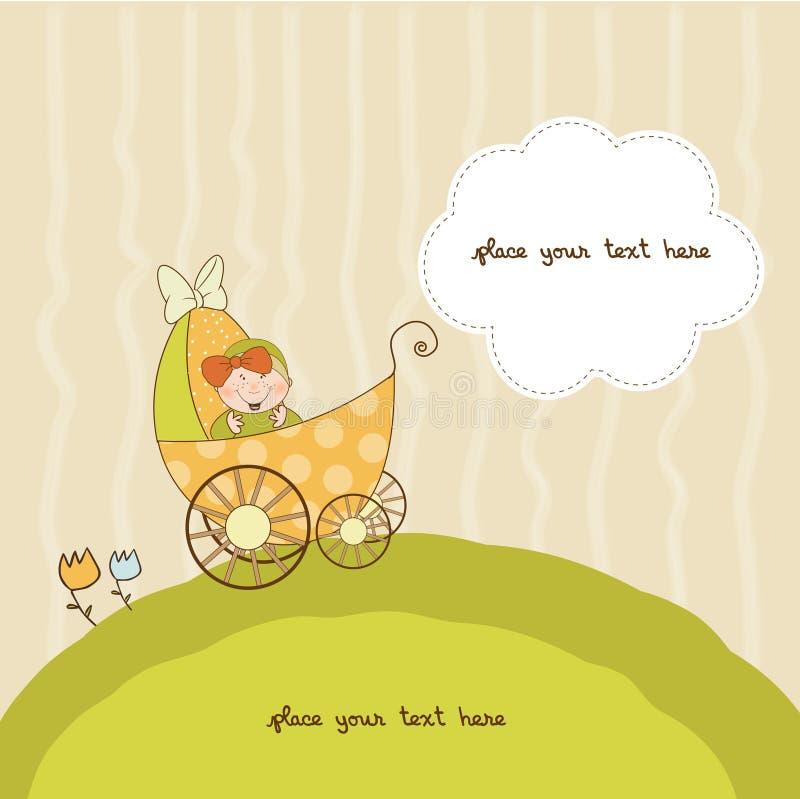 Tarjeta del aviso de la ducha de bebé con el cochecito de niño stock de ilustración