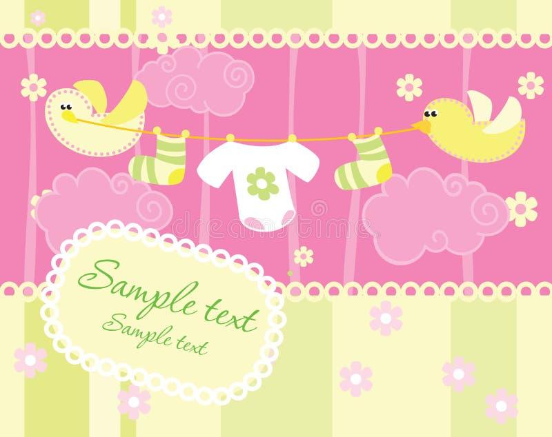 Tarjeta del aviso de la llegada del bebé stock de ilustración