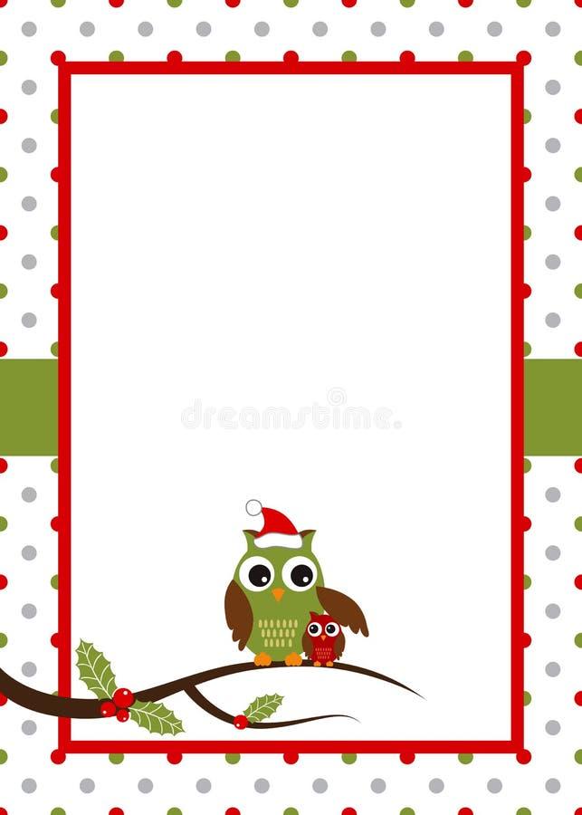 Tarjeta del búho de la Navidad stock de ilustración
