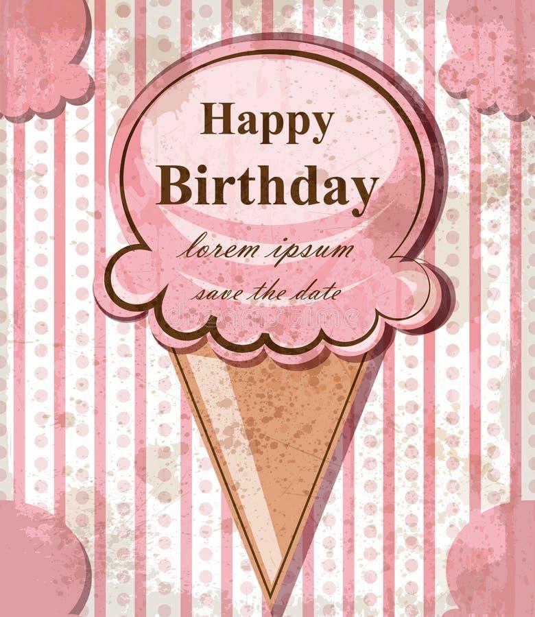 Tarjeta del bebé del feliz cumpleaños con helado Tema rosado delicado del vintage del vector Árbol congelado solo libre illustration