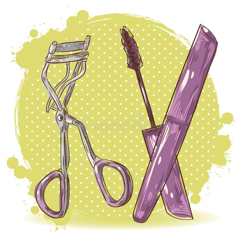Tarjeta del bigudí y del rimel de la pestaña del maquillaje de la belleza stock de ilustración