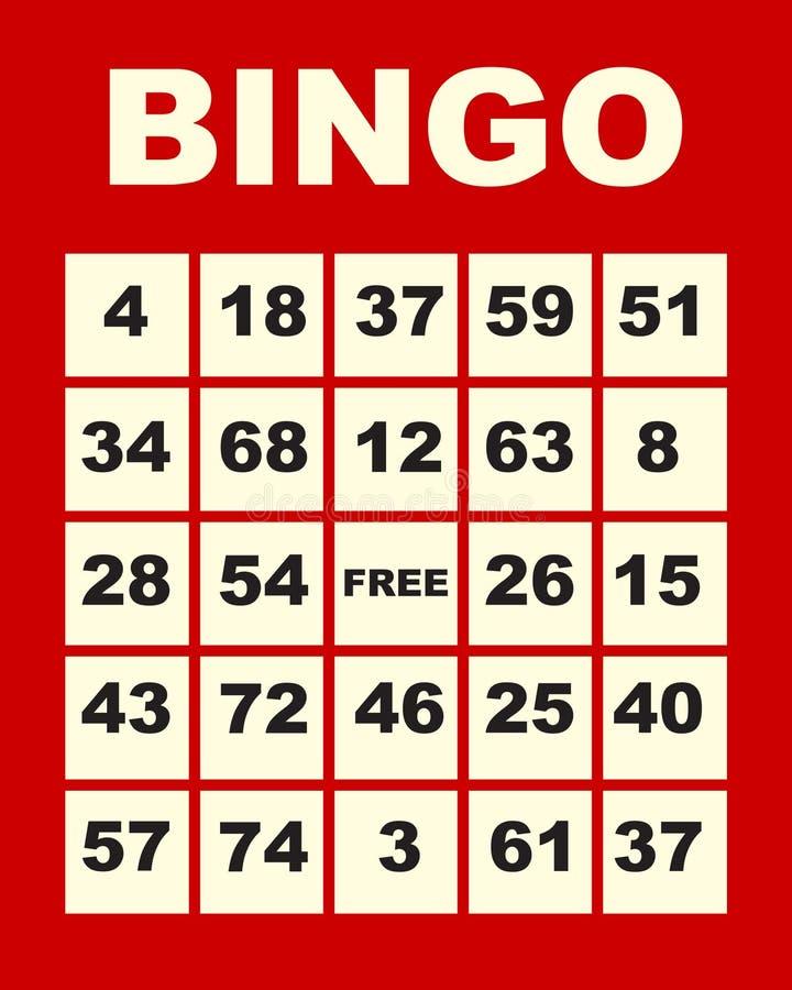 Tarjeta del bingo ilustración del vector