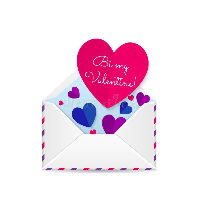 Tarjeta del bisexual de las tarjetas del día de San Valentín ilustración del vector