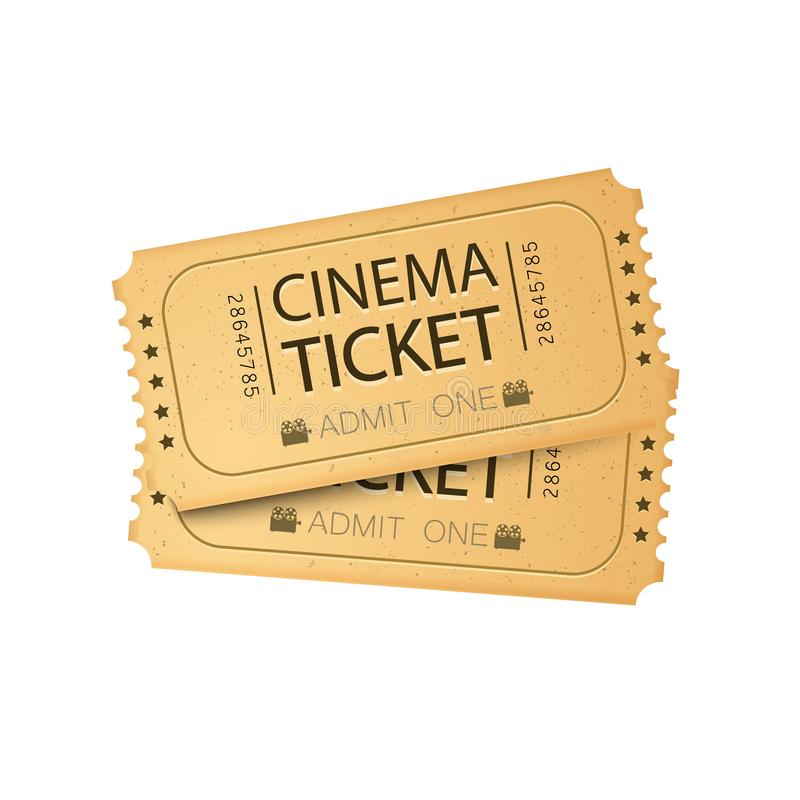 Tarjeta del boleto del cine Ilustración del vector Plantilla del boleto del cine imagen de archivo