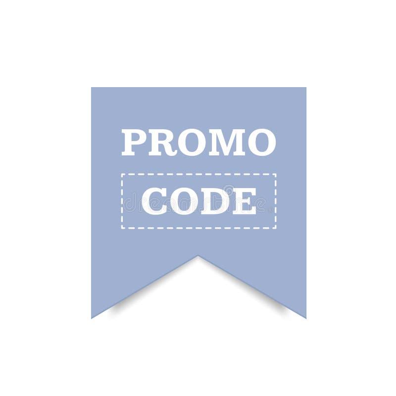 Tarjeta del código del promo Descuento en la bandera Icono del descuento El vector en el plano ilustración del vector