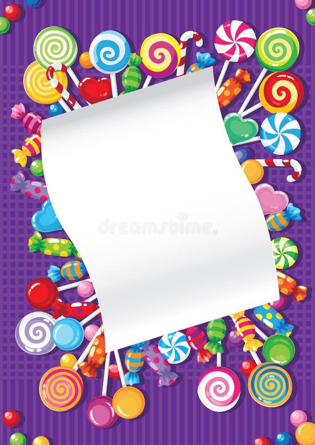 Tarjeta del caramelo y de los dulces ilustración del vector