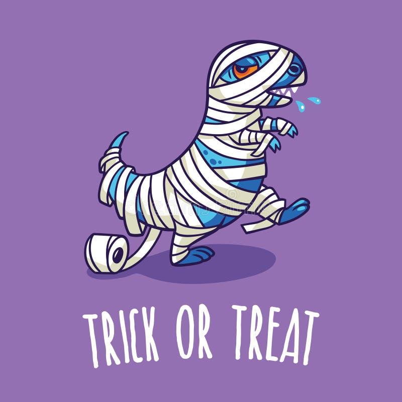 Tarjeta del cartel o de felicitación de Halloween con el dinosaurio de la historieta en traje ilustración del vector