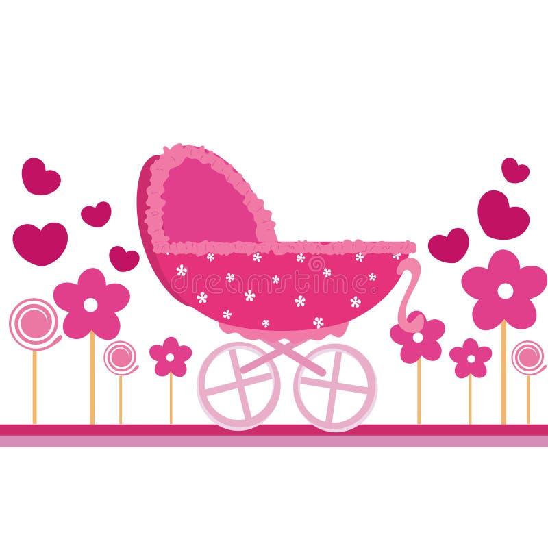 Tarjeta del color de rosa de bebé ilustración del vector
