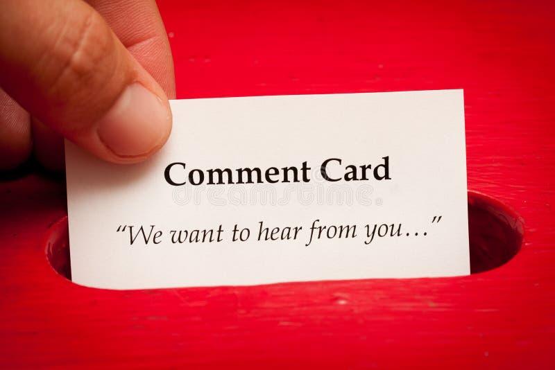 Tarjeta Del Comentario Foto de archivo libre de regalías