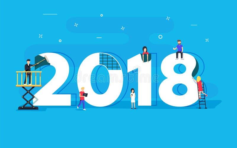 Tarjeta del concepto de la Feliz Año Nuevo el pequeño carácter de la gente construyó el texto 2018 Diseño plano del ejemplo ilustración del vector