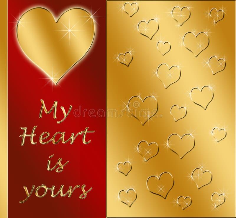 tarjeta del corazón de las tarjetas del día de San Valentín del oro ilustración del vector