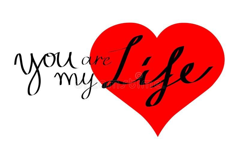 Tarjeta del corazón, usted es mi vida fotos de archivo