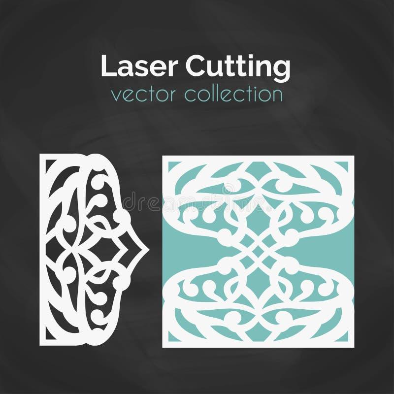 Tarjeta del corte del laser Plantilla para cortar Ejemplo del recorte stock de ilustración