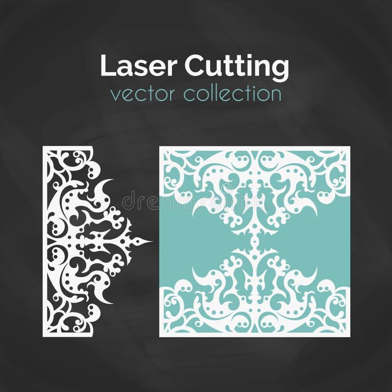 Tarjeta del corte del laser Plantilla para el corte del laser Ejemplo del recorte con la decoración abstracta Cortado con tintas  ilustración del vector
