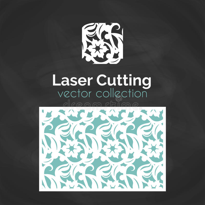 Tarjeta del corte del laser Plantilla para el corte del laser Ejemplo del recorte con la decoración abstracta Cortado con tintas  stock de ilustración