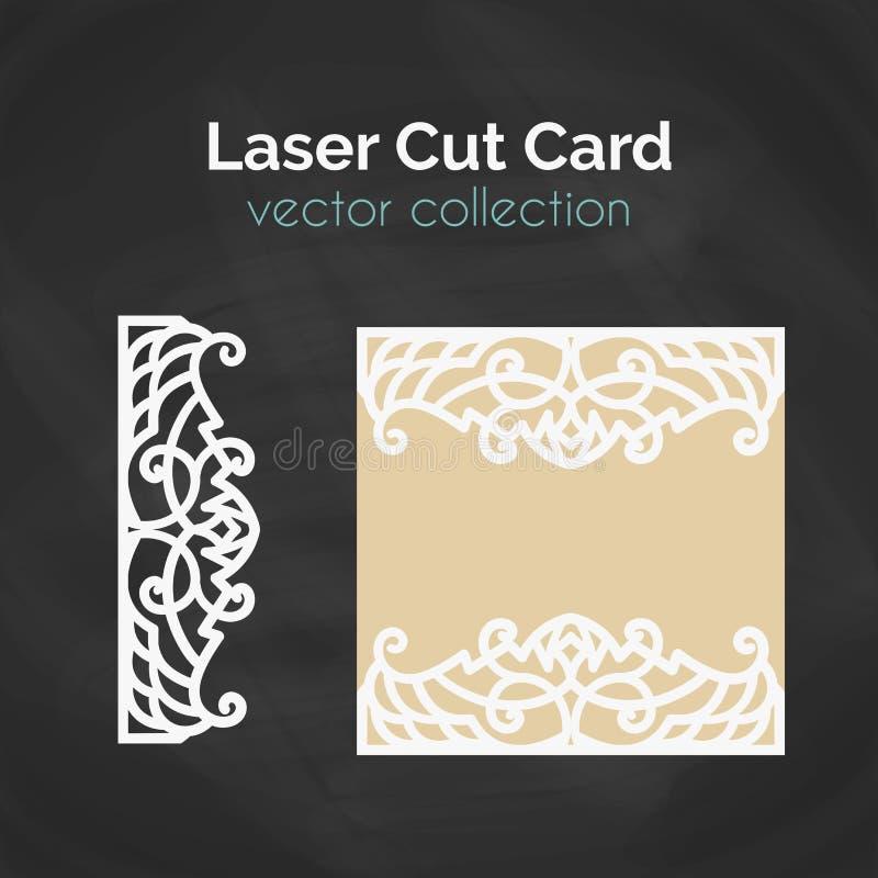 Tarjeta del corte del laser Plantilla para el corte del laser Ejemplo del recorte con la decoración abstracta Cortado con tintas  libre illustration