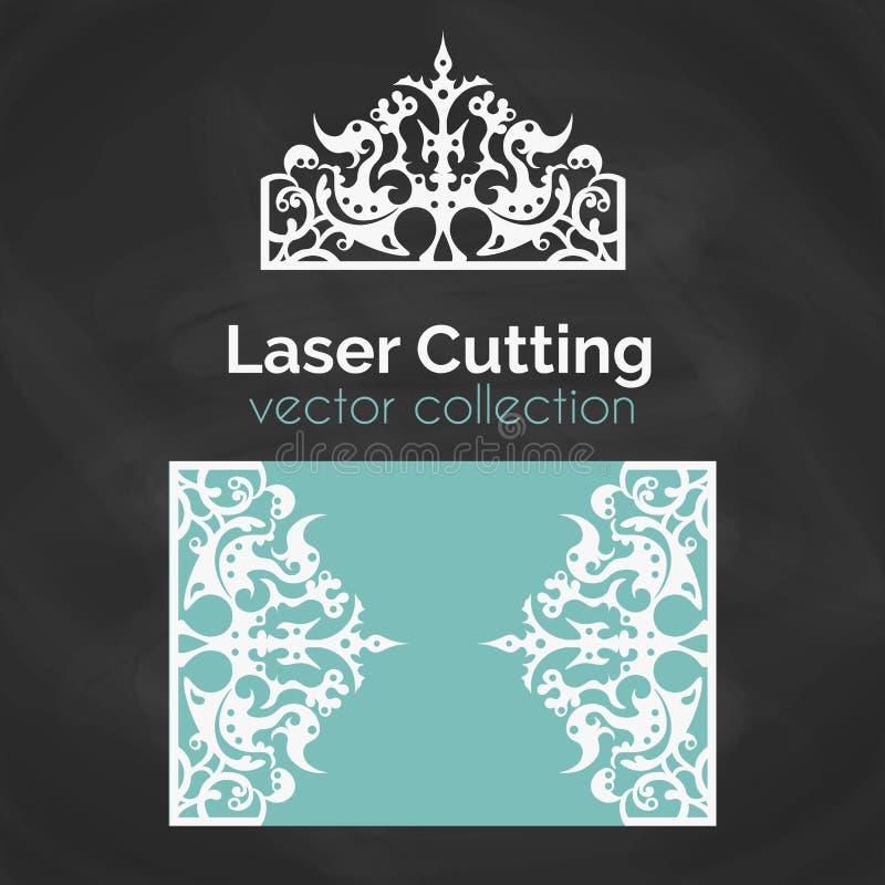 Tarjeta del corte del laser Plantilla para el corte del laser Ejemplo del recorte con la decoración de la corona Cortado con tint ilustración del vector