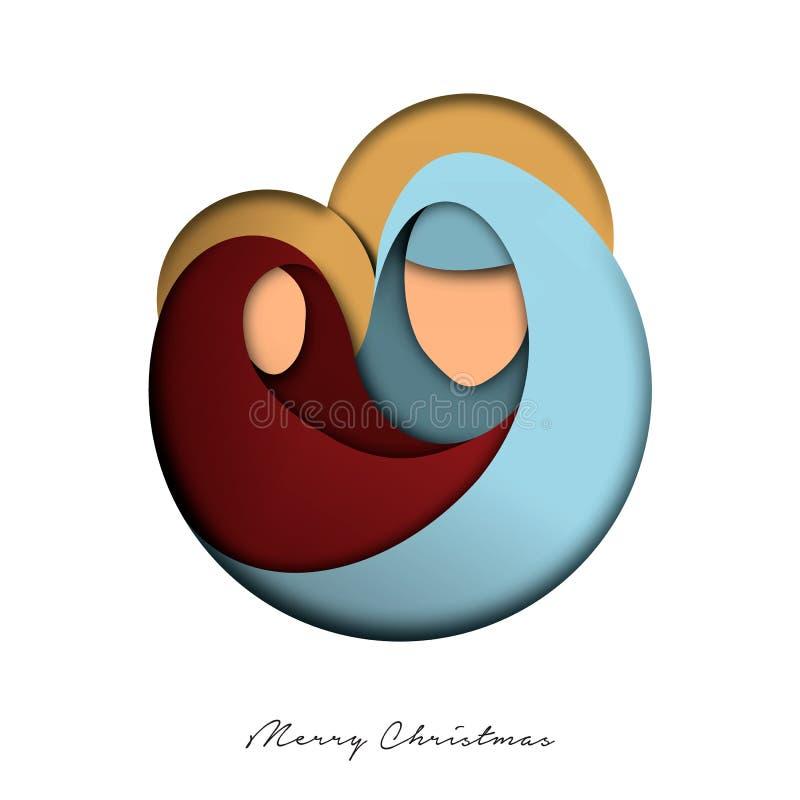 Tarjeta del corte del papel de la Navidad de Jesús y de la familia santa stock de ilustración