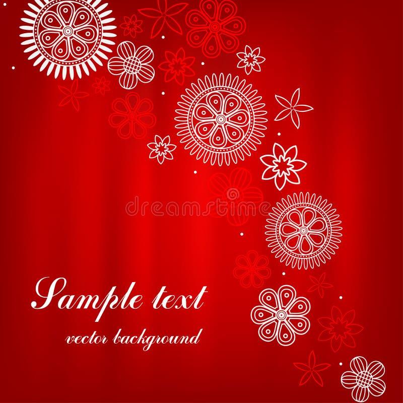 Tarjeta del cuadrado rojo con las flores rojas y blancas stock de ilustración