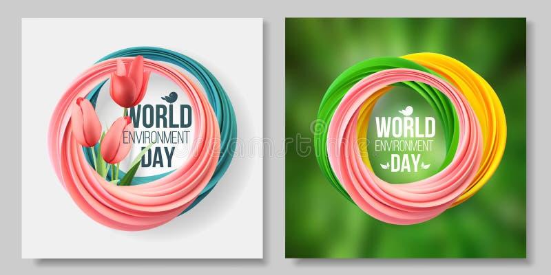 Tarjeta del día del ambiente mundial, bandera, logotipo en el fondo coralino verde y vivo 5 de junio Ecolog?a, bio, naturaleza ilustración del vector