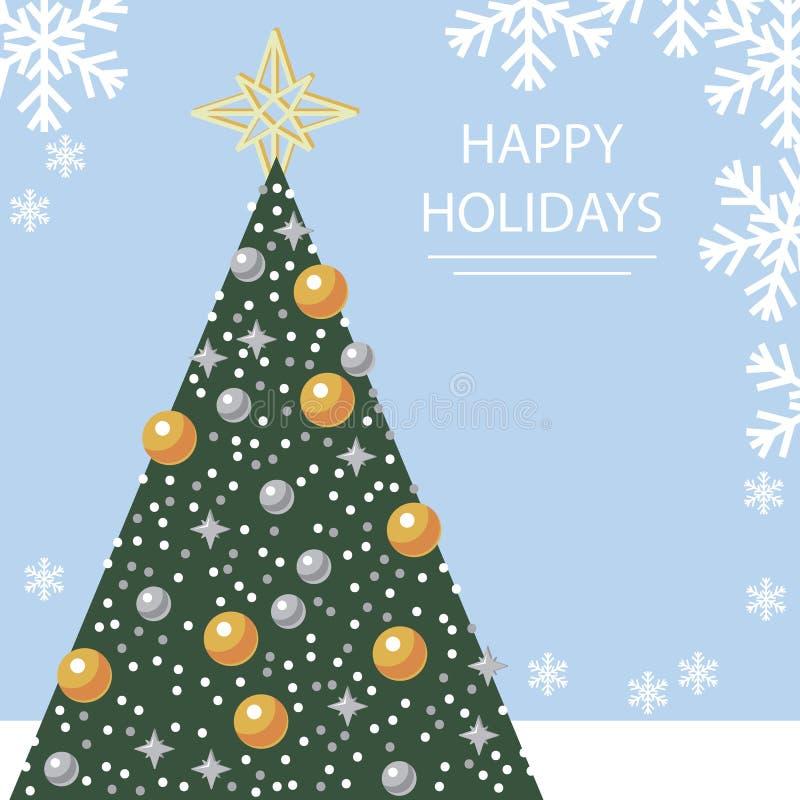 Tarjeta del día de fiesta con el árbol de navidad y los copos de nieve libre illustration