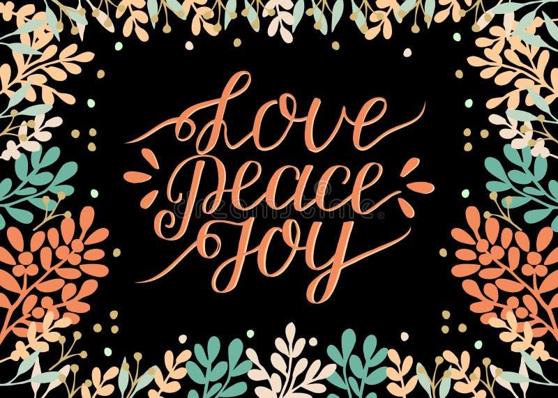 Tarjeta del día de fiesta con el amor de la inscripción, paz, alegría, hecha letras de la mano Fondo bíblico Cartel cristiano Cal libre illustration