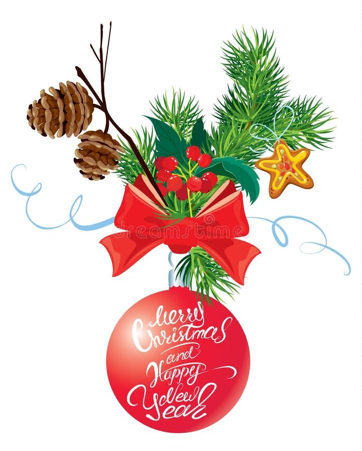 Tarjeta del día de fiesta con la cinta y el arco, cono y rama, holl del árbol de abeto libre illustration
