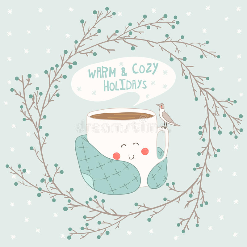Tarjeta del día de fiesta con la taza linda de té en blanke ilustración del vector