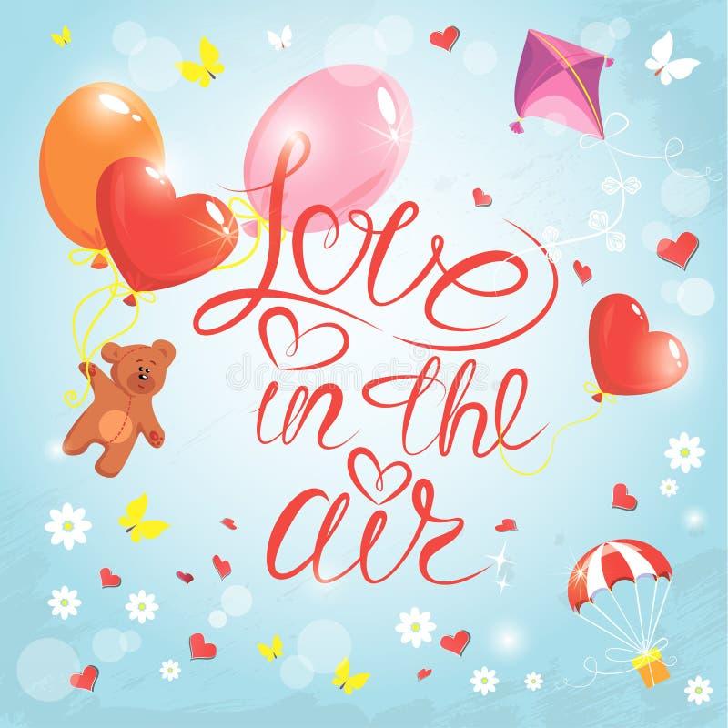 Tarjeta del día de fiesta con los corazones, mariposas, flores, globos, cometa, stock de ilustración