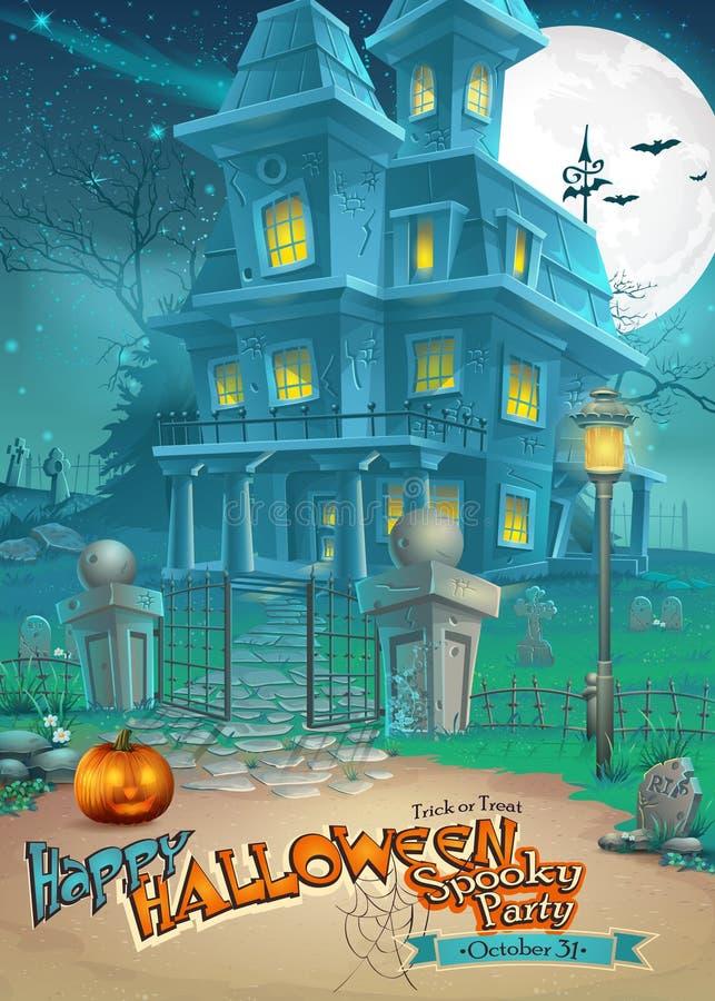 Tarjeta del día de fiesta con una casa encantada misteriosa de Halloween y una calabaza asustadiza stock de ilustración