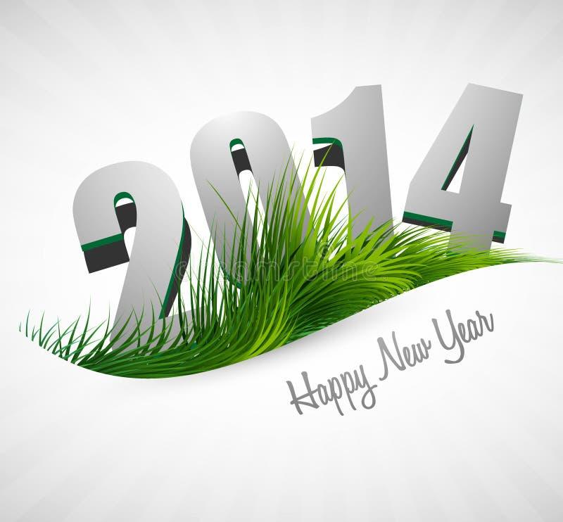 Tarjeta del día de fiesta de la Feliz Año Nuevo de la celebración 2014 para la hierba ilustración del vector