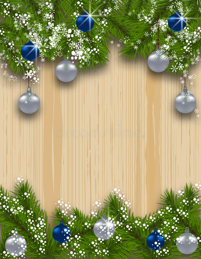 Tarjeta del día de fiesta El abeto verde ramifica con las bolas de plata y azules en el fondo de madera Arriba y abajo de Decorac libre illustration