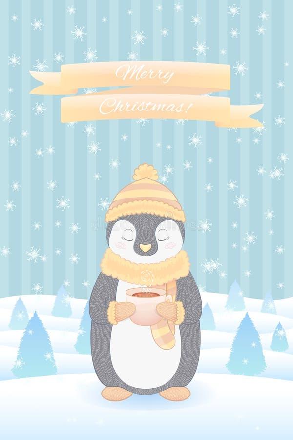 Tarjeta del día de fiesta de la Navidad con el pingüino ilustración del vector