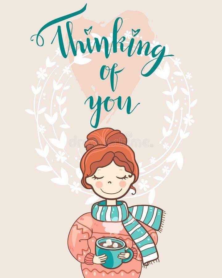 Tarjeta del día de fiesta de la tarjeta del día de San Valentín con la muchacha de sueño linda en el suéter stock de ilustración