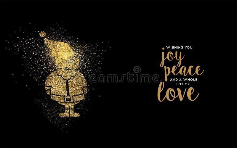 Tarjeta del día de fiesta de Papá Noel del brillo del oro de la Navidad libre illustration