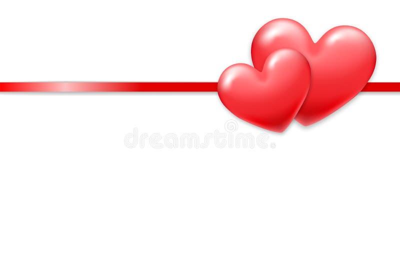 Tarjeta del día de fiesta del día de tarjeta del día de San Valentín con el espacio brillante del corazón y de la copia Plantilla stock de ilustración