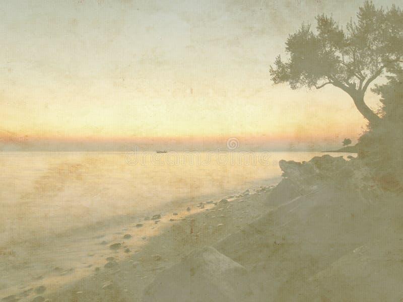 Tarjeta del día de fiesta del vintage en viejo fondo de papel Opinión del mar del solo barco y de la puesta del sol libre illustration