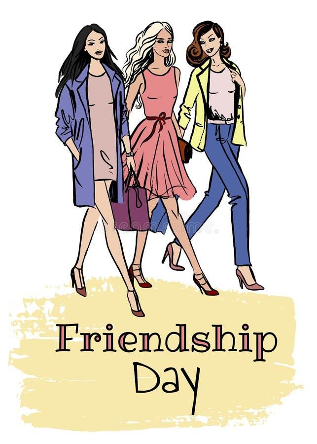 Tarjeta del día de la amistad ilustración del vector