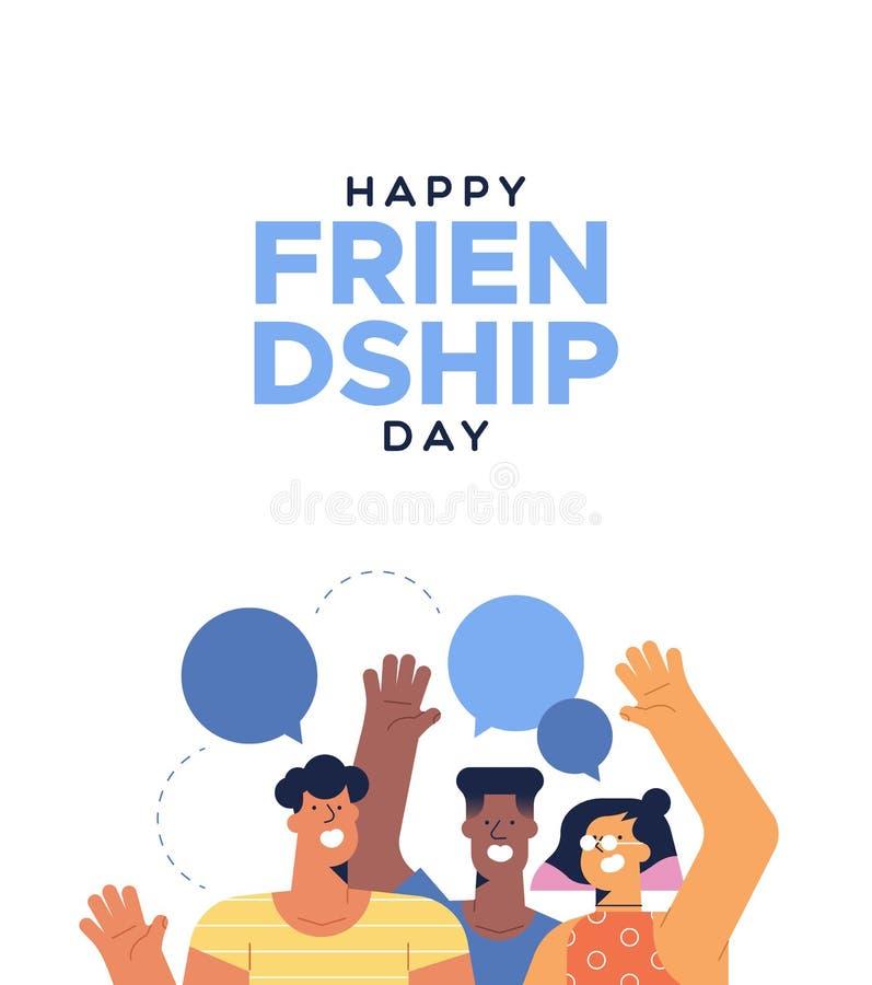 Tarjeta del día de la amistad de hablar adolescente de los amigos ilustración del vector