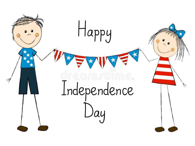 Tarjeta del Día de la Independencia con los niños ilustración del vector