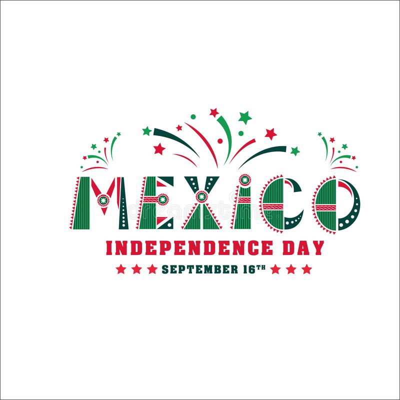 Tarjeta del Día de la Independencia de México, bandera de la festividad nacional libre illustration